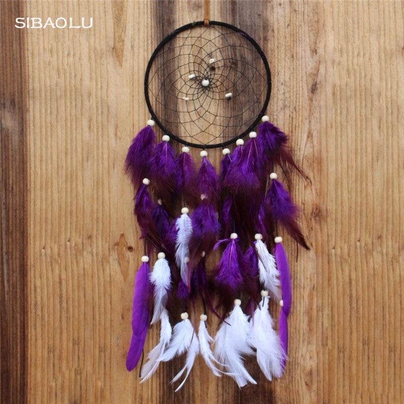 Atrapasueños hecho a mano con atrapasueños de plumas púrpuras para decoración de paredes de casa diy para fiesta de bodas