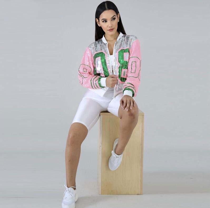 Lentejuelas largo cuello redondo rosa verde 08 hermandad alfa lentejuelas chaquetas Bling club prendas de vestir y abrigos