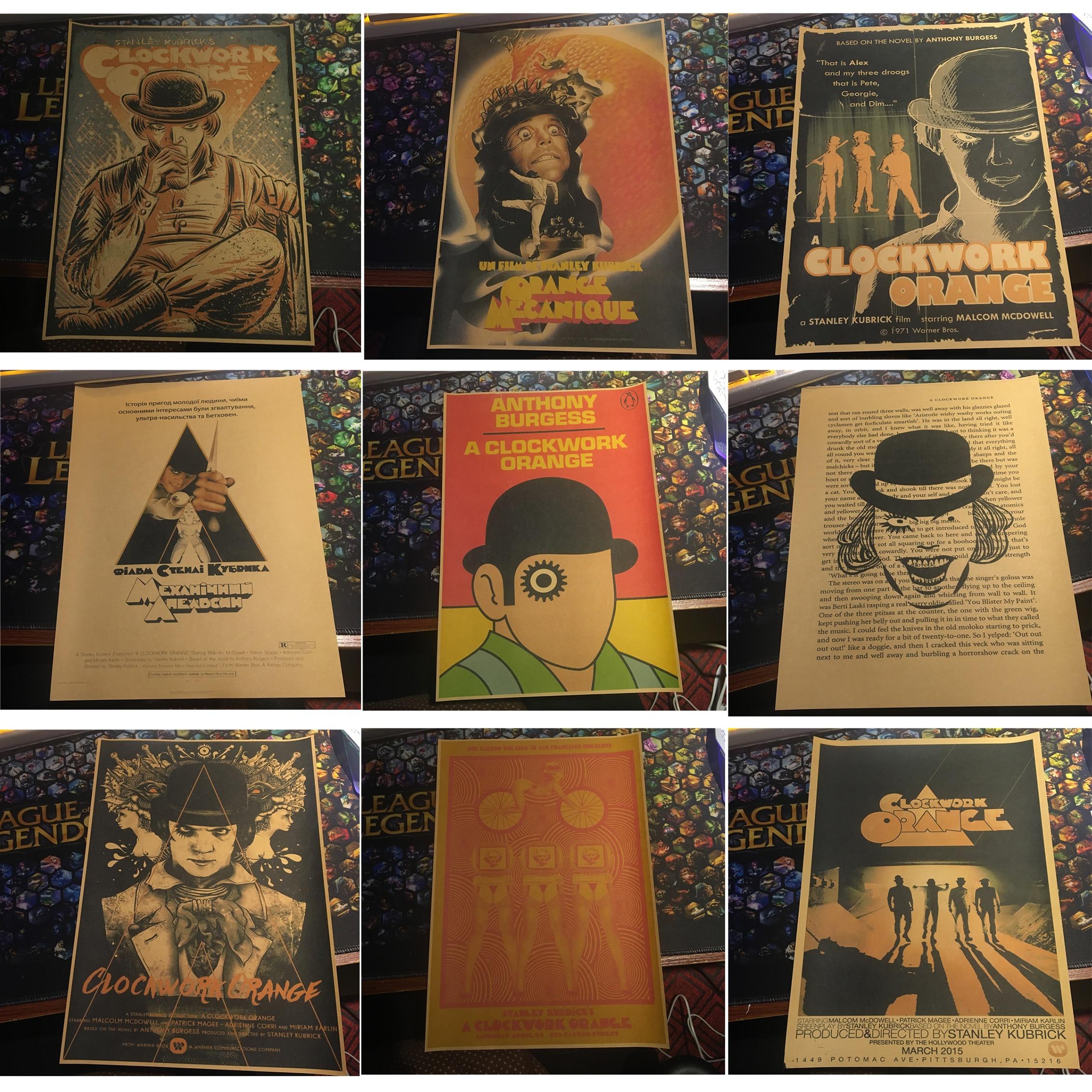 Заводной оранжевый классический постер для фильма, украшение для домашнего интерьера, крафт-постер для фильма, рисунок, основные настенные ...