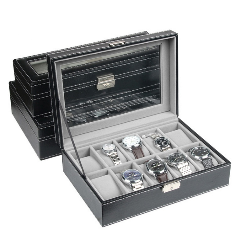 Top Sselling 6/10/12 Grids PU Leather Watch Boxes Storage Organizer Box Luxury Jewelry Display Watch Case Black Free Shipping luxury organizer black leather square pocket watch box foam pad inside watches gift boxes for men womens watch jewelry storage