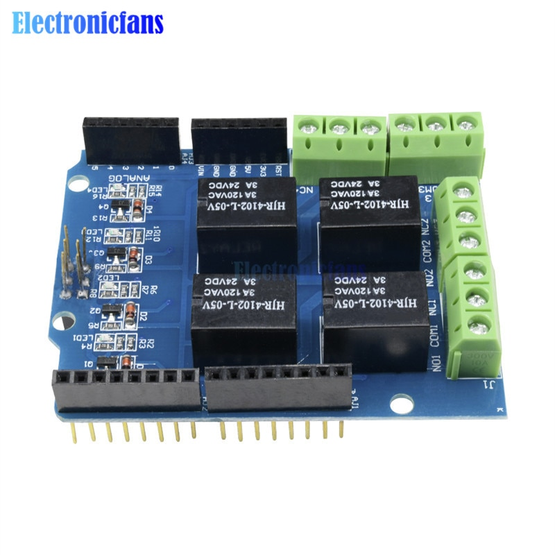 Interfaz de escudo de relé de módulo de cuatro canales 5V 4 para Arduino Control de señal Placa de expansión de potencia DC 3,3 v 5v indicador rojo
