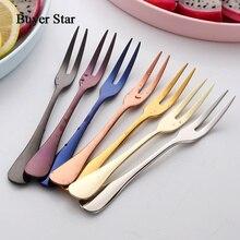 Star acheteur fourchette à fruits colorée   En acier inoxydable, ensemble de cuisine, couverts, fourchette à gâteaux pour snacks, vaisselle à thé, ensemble de vaisselle
