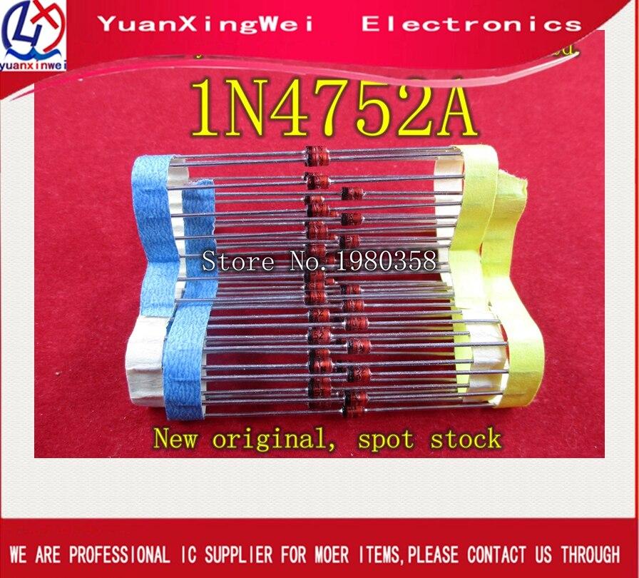 50 pçs/lote Diodos Zener 1N4752A 1W 33V 1N4752 Único 5% Pin-do-41 2