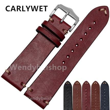 CARLYWET 20 22mm Man Women Handmade C Leather Brown Black Red Blue VINTAGE Wrist Watch Band Strap Belt Silver Polished Buckle