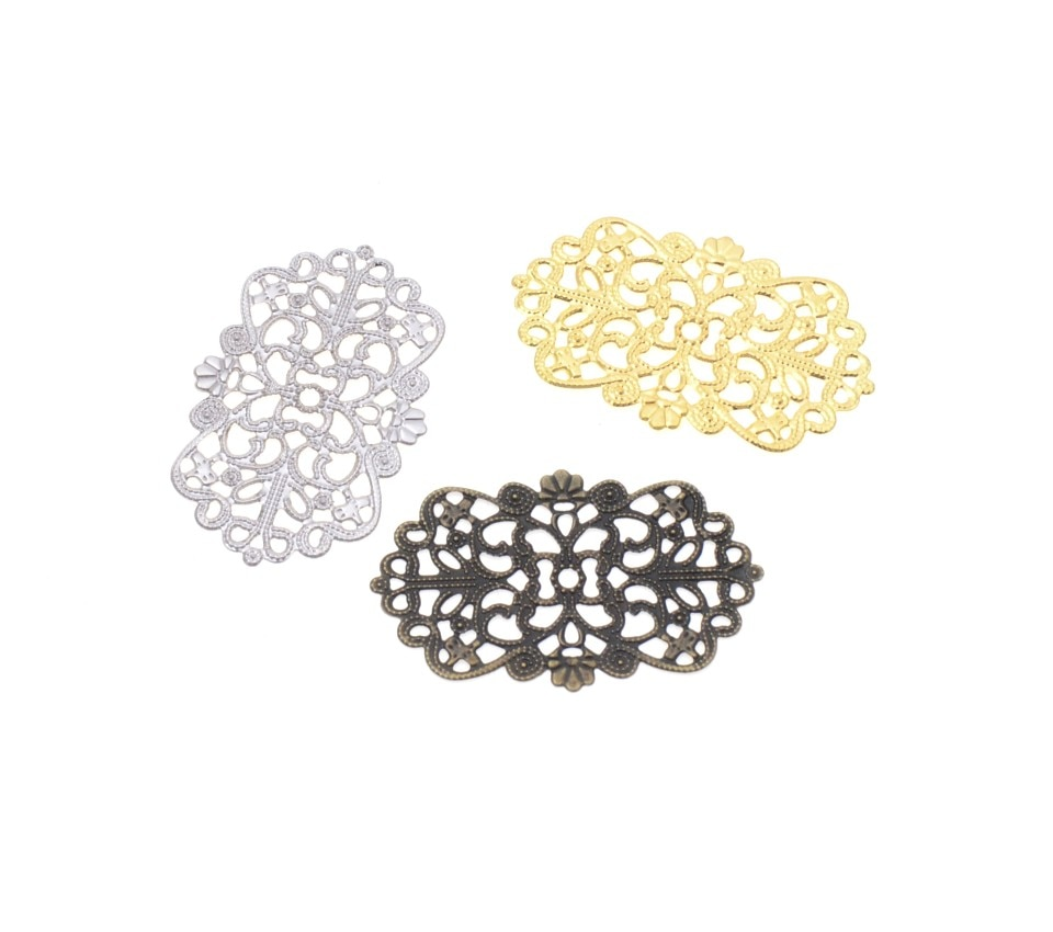 Envío gratis 10 Uds flores envolturas de filigrana conectores decoración de artesanía de metal DIY 50x32mm