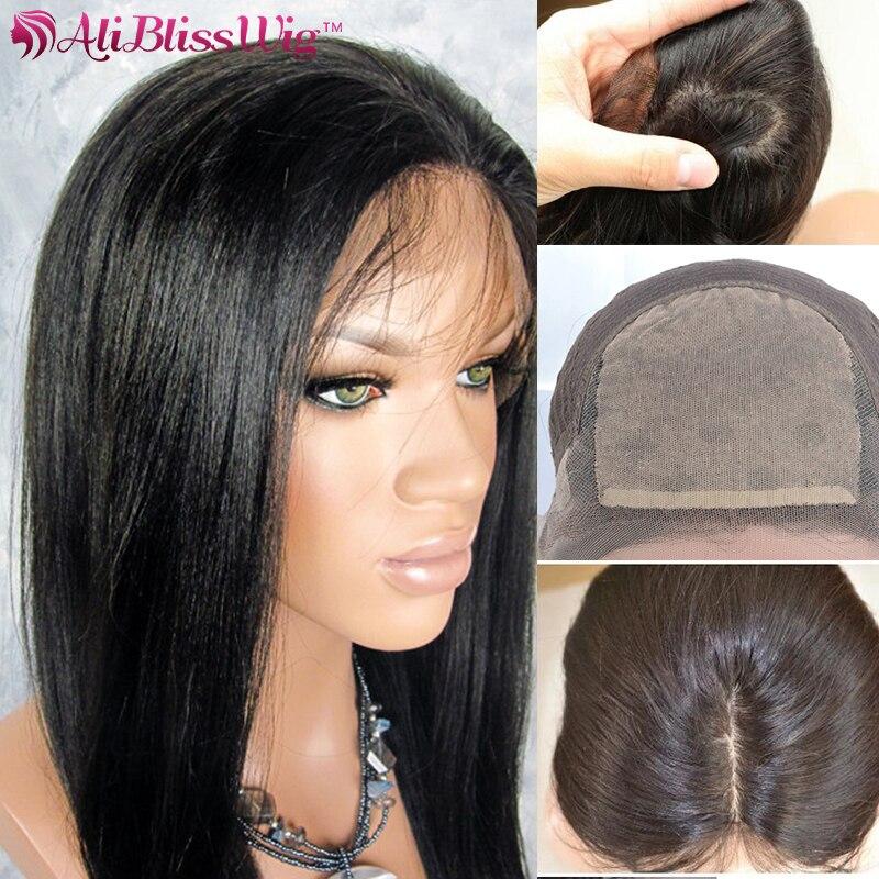 4*4 Top de seda peluca con malla frontal base de seda pelucas de cabello humano Yaki recto Remy brasileño Invisible despedida cabello Natural
