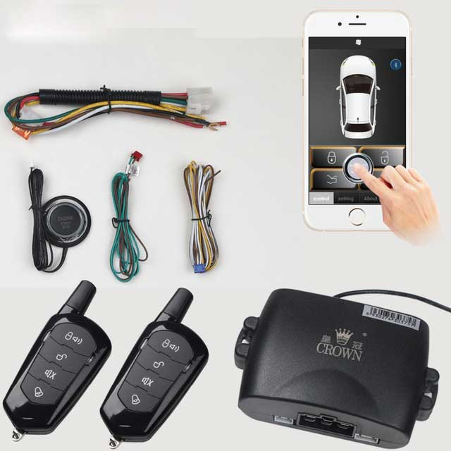 universal pke car alarm system with remote start car push button start passive keyless entry auto central control door lock Universal SmartPhone Alarma Auto Remote Car Alarm System Control Kit Passive Central Locking Car Keyless Entry Trunk Button PKE