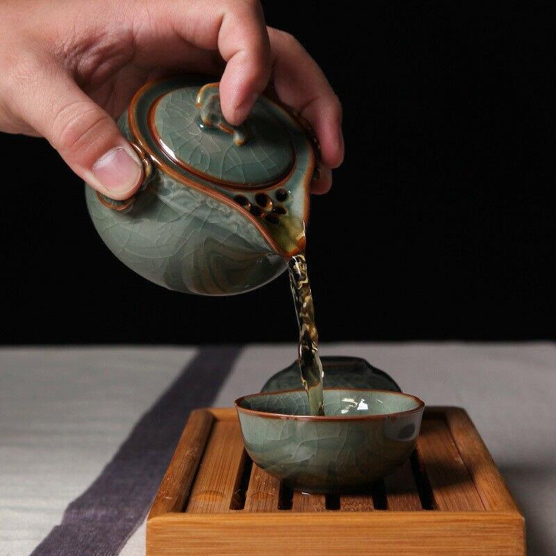China longquan celadon portátil kung fu conjunto de chá um pote e dois xícara de chá chá chá chá celadon longquan bules