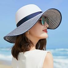 2019 Hot Sale Fashion Hepburn Hat Wind Black White Striped Bowknot Summer Sun Hat Beautiful Women Straw Beach Hat Wide-brim Cap