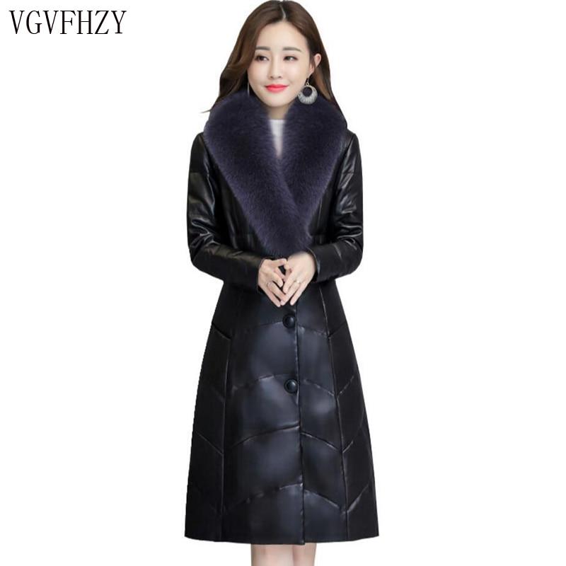 2018 zima kobiety płaszcz skórzany wysokiej jakości waga kurtka kołdra owiec Temperament kołnierz z futra lisa moda kobieta parka puchowa