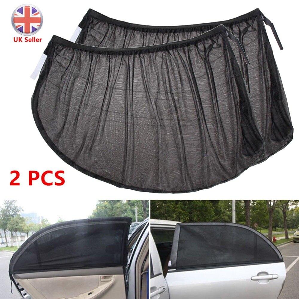 1 * par de parasol delantero y trasero para ventana de coche, protección UV para niños y bebés, malla protectora para la mayoría de los modelos de coches