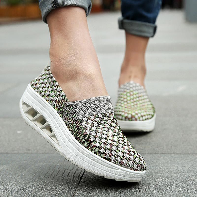 Platform Slip on Sports Female Sport Shoes Women Sneakers for Women Running Shoe Gray Wedges Slimming Swing Toning Fitness B-251