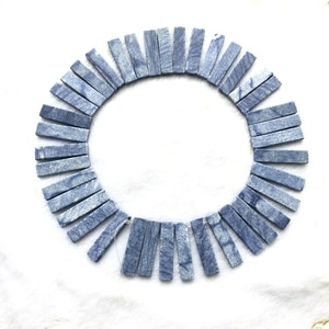 Natural Blue Aventurine Matte Beads,Long Strip Beads 10x40mm Blade Bead,Necklace Jewelry DIY Finding,Top Drilled,1string 38beads