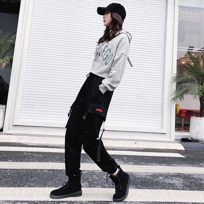 Pantalones Cargo De Estilo Hip Hop Para Mujer Pantalon Informal Para Correr De Cintura Alta De Estilo Coreano Harajuku Con Bolsillos Laterales Color Negro A Anvas Info