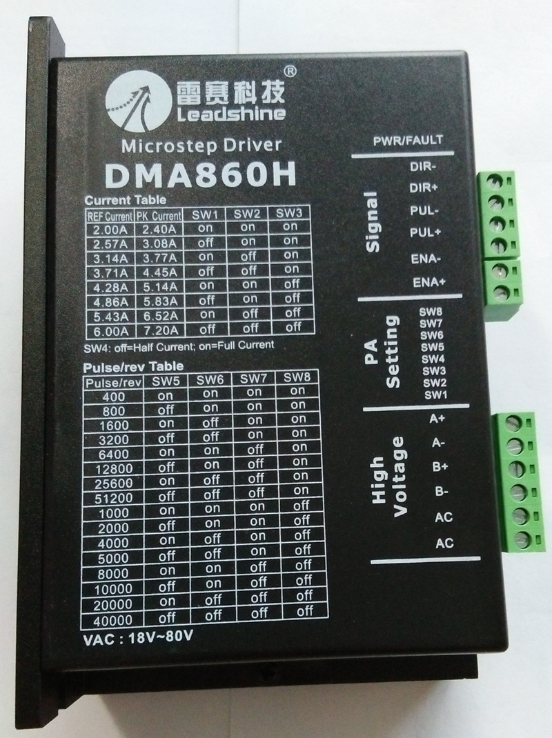 DMA860H обновленный MA860H Leadshine NEMA34 NEMA42 2-фазный Драйвер шагового двигателя 48в-80vac 7.2A фрезерный станок с ЧПУ