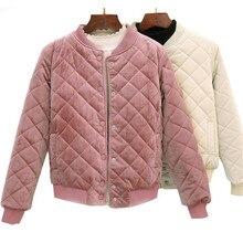 2020 automne hiver femmes court coton manteaux velours Argyle Harajuku Parka chaud épais vestes étudiants vêtement de dessus de Baseball Bombers