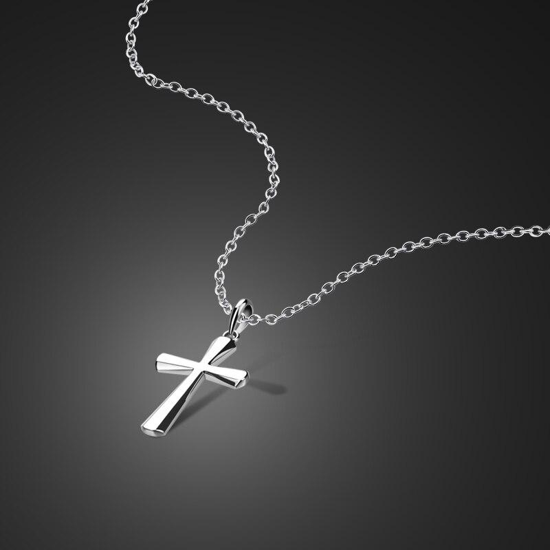 Regalo de Navidad Simple delicado 100% 925 plata esterlina Cruz colgante collar moda mujer gargantilla cadena señora joyería de plata