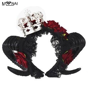 Маскарадный костюм Лолиты на Хэллоуин для взрослых с рогами дьявола, красная Цветочная повязка на голову, нарядное платье, повязка на голов...