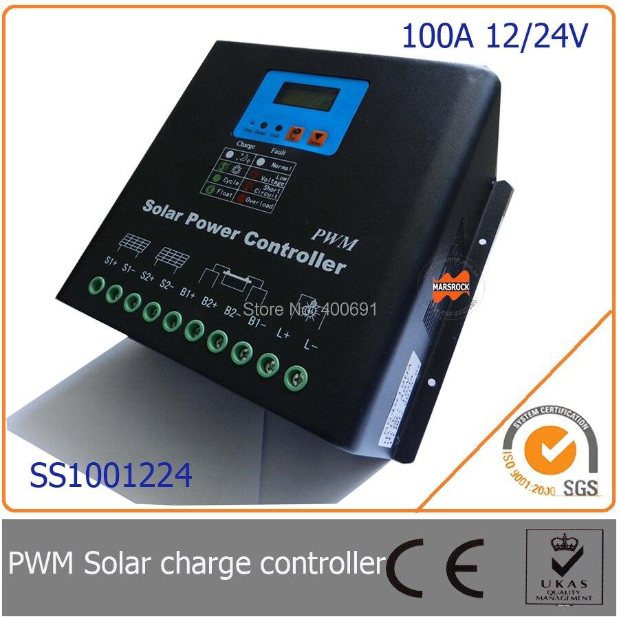 100a 12 24 v pwm controlador de carga solar com led display lcd auto identificacao