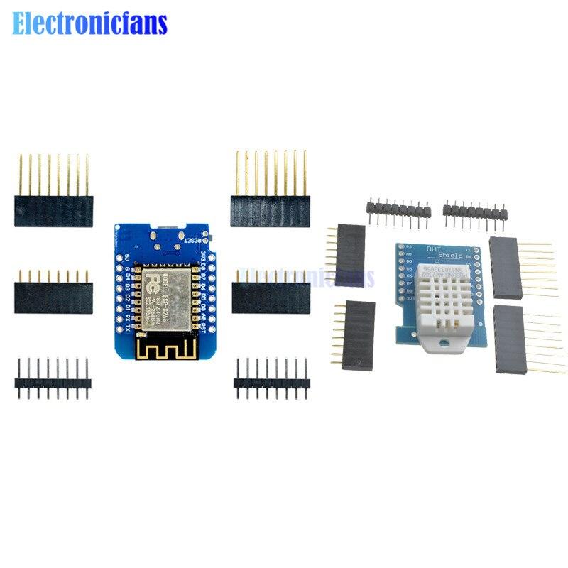 Sensor Digital de temperatura y humedad relativa DHT22 AM2302, ESP-12 ESP8266, ESP-12F CH340G CH340 V2, USB para Wemos D1 Shield