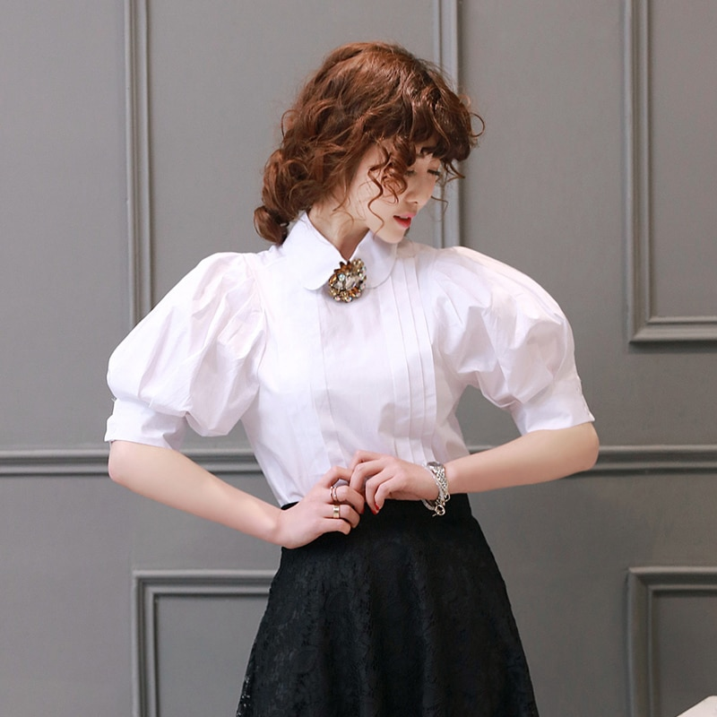 Mulheres Sopro Manga Lanterna Camisa Topos de Design Da Marca de Moda Feminina Turn-Down Collar Único Breasted Desgaste Do Vintage Blusa Branca