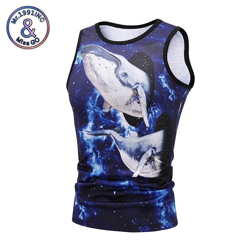 Mr.1991INC Fashion Mens Tank Tops 3d Printing Vest Danced Whale Animals Print Vest Workout Leisure Tops sleeveless tank