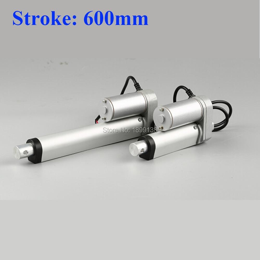 Actuador lineal eléctrico 600mm control de motor lineal 24 V dc 12 V 36 v 200/350/ 400/600/700/750N