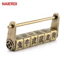 NAIERDI 90*37mm Zinc Alloy Chinese Vintage Antique Bronze Keyed Padlock Retro Combination Password Lock Jewelry Box Padlock