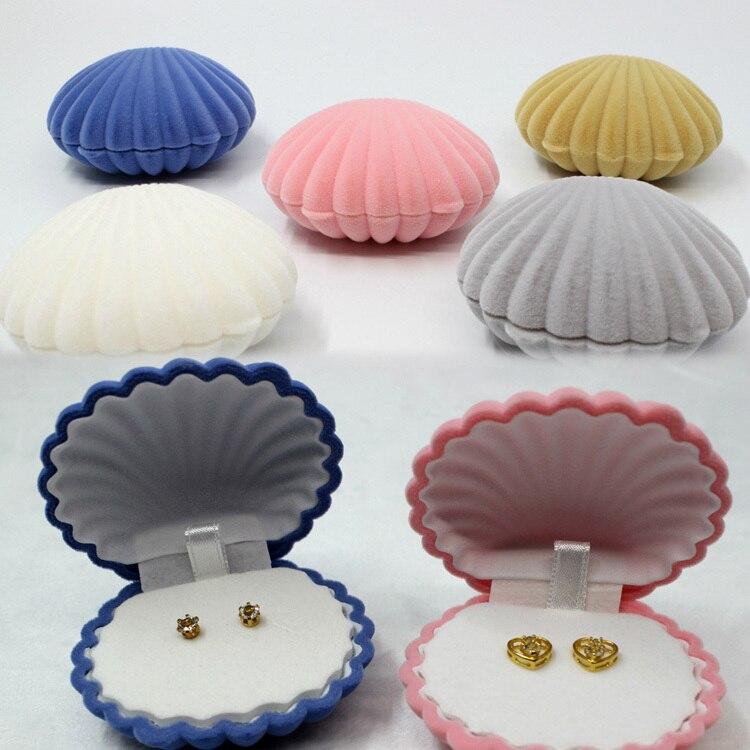 2019 nuevas Cajas de Regalo de joyería de 5 colores en forma de concha de mar cajas de joyería pendientes collar cajas Color rosa 15120205