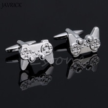 JAVRICK 1 çift erkekler paslanmaz çelik kol düğmesi gümüş oyun konsolları kolu kol düğmeleri düğün parti hediye gömlek elbise kol düğmeleri
