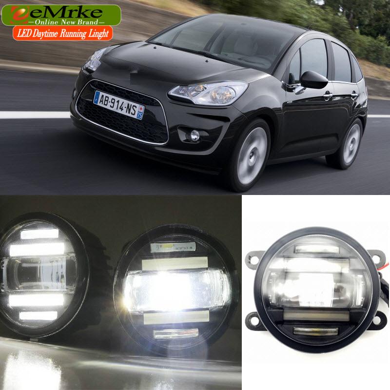 Diseño de coche EEMRKE para Citroen C3/C3 Picasso 2009-up 2 en 1 multifunción LED luces antiniebla DRL con lente luces de circulación diurna