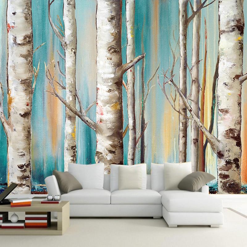 3D обои на заказ, современные белые березы, картина маслом, ТВ, диван, фон, обои для гостиной, спальни, настенное покрытие