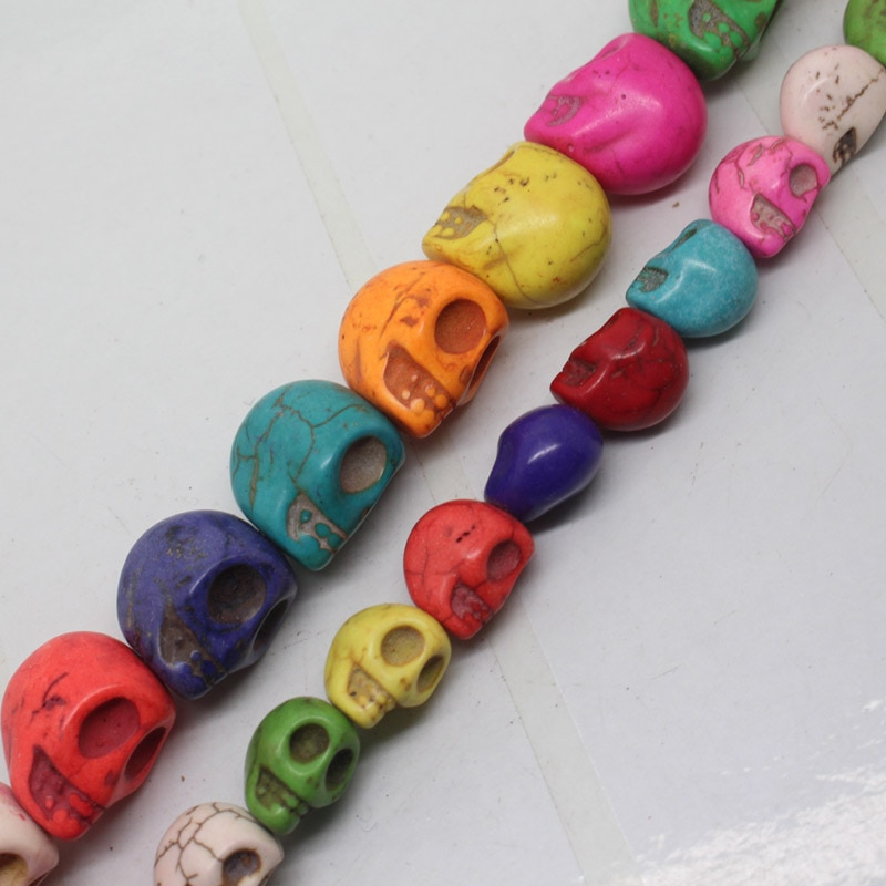 "Mini. order ist $7! 10x12x13,15x17x18mm Multicolor Türkisen Verkrustete Schädel köpfe Lose perlen 15"""