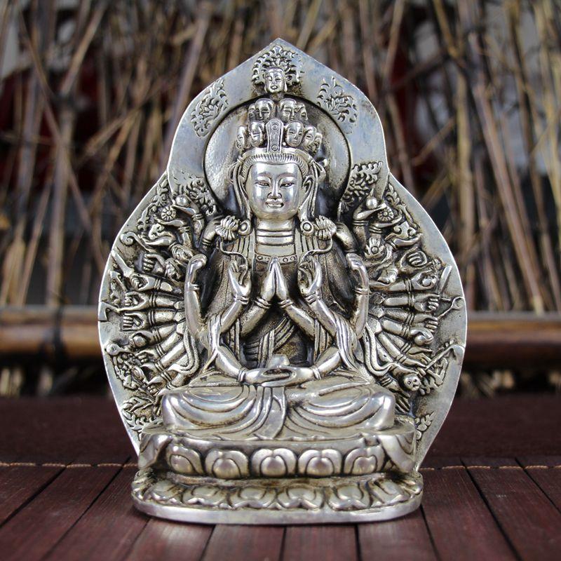 China adornos antiguos de estilo Feng Shui cobre blanco plateado miles de manos estatua de Guanyin Buddha