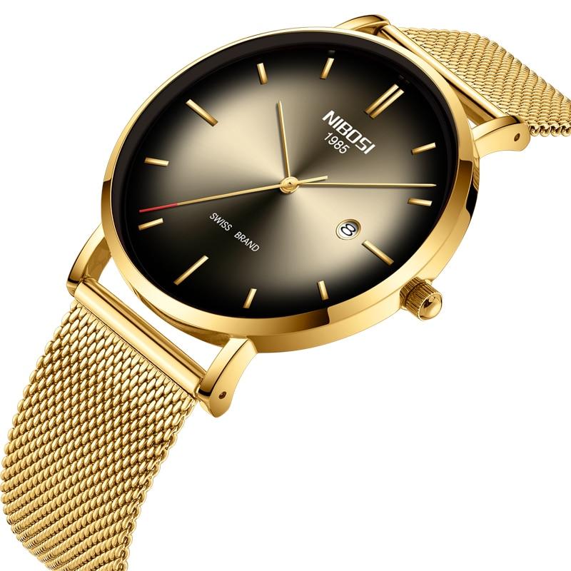 Nibosi unisex relógio para homem & mulher ultra-fino negócios relógio de pulso à prova dwaterproof água malha cinta relogio masculino/feminino masculino relógio