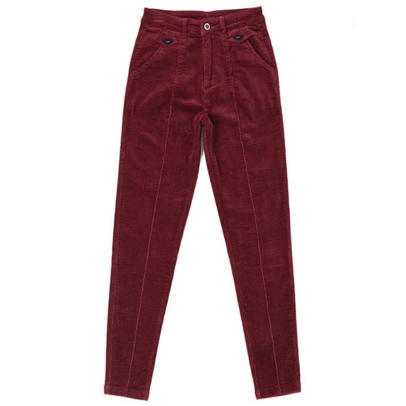 autumn and winter thick corduroy elastic waist high waist pants casual harem pants large size