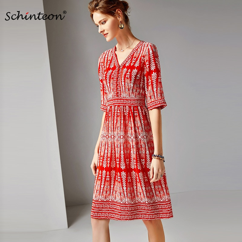 2019 New Arrival Schinteon 100% Real Silk A-line Print Dress V-Neck Collar Fashion Slim Red Elegent Office Dress
