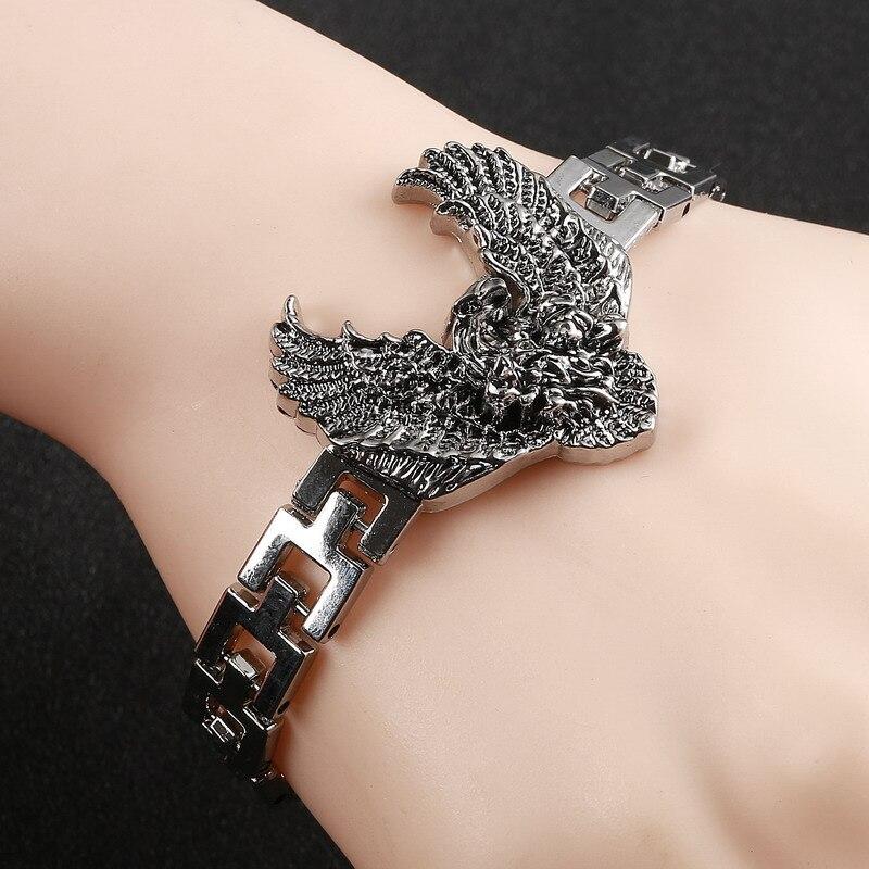 2019, pulsera con abalorios para hombre, accesorios para hombre, pulseras y brazaletes de acero inoxidable para hombre, pulsera masculina a la moda, pulsera con Águila, joyería