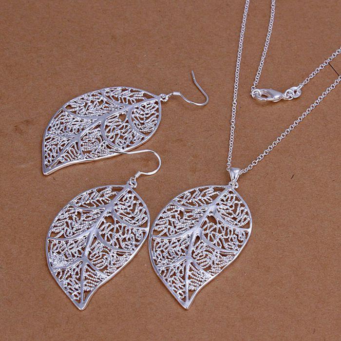 925 conjunto de jóias de prata, Conjunto de jóias de moda folha brincos colar S180 / cmbaldia cwyalofa LKNSPCS180