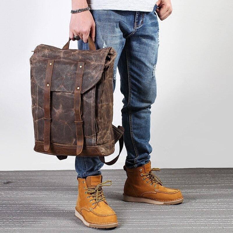 Mochila masculina impermeável de couro oli, bolsa leve em lona encerada para computador, ideal para viagens e esportes