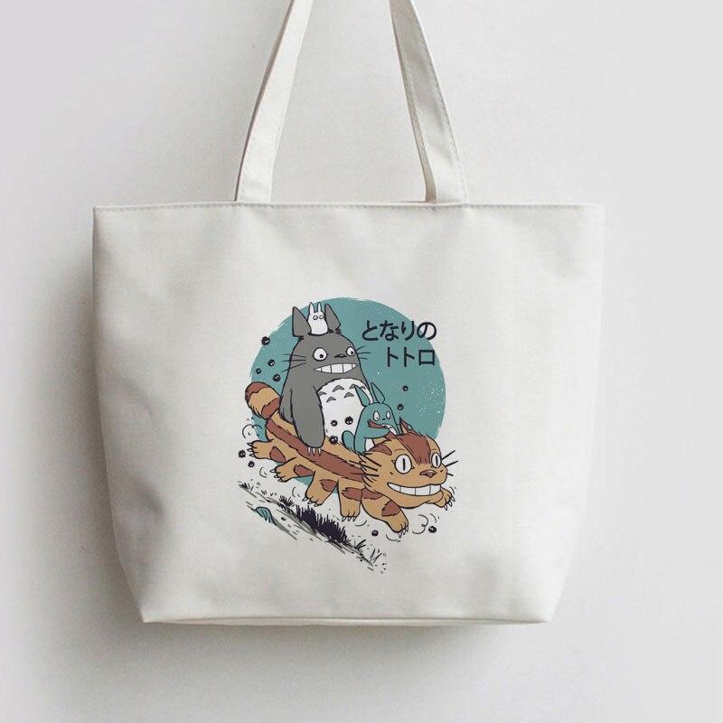 Para la familia Totoro, bolso de compras de Anime japonés, mochila escolar de lona, bolsas AN027