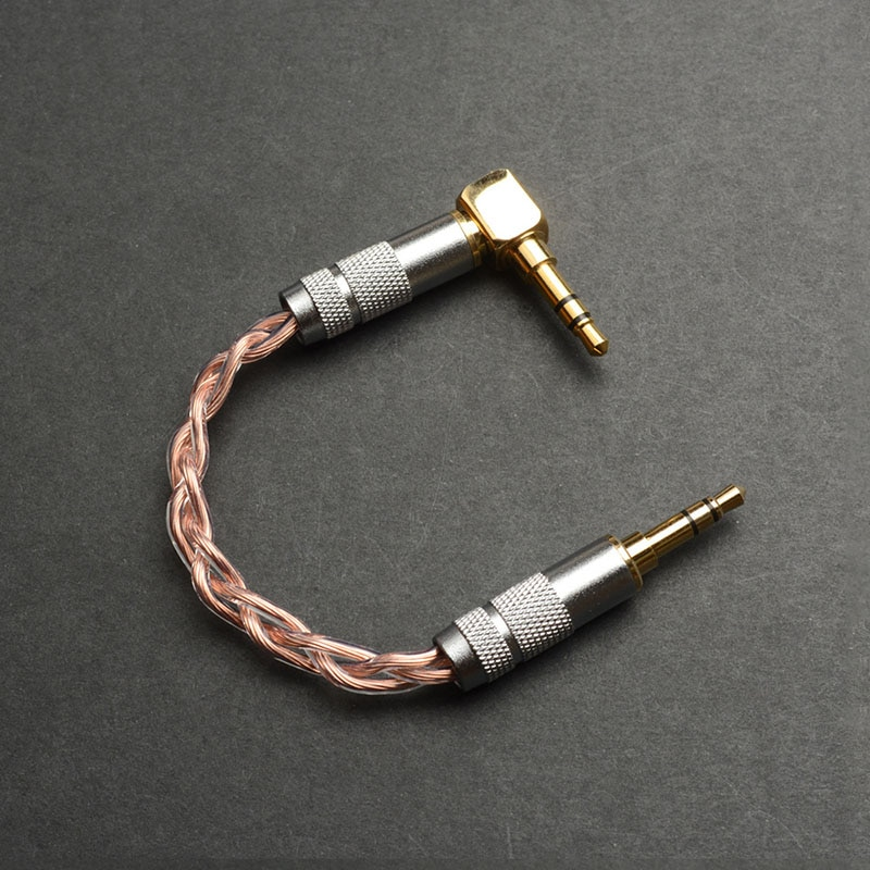 Conector macho a macho de audio estéreo OKCSC de 3,5mm, conector auxiliar de 3,5mm para amplificador de auriculares, reproductor de MP3, tipo L, de un lado