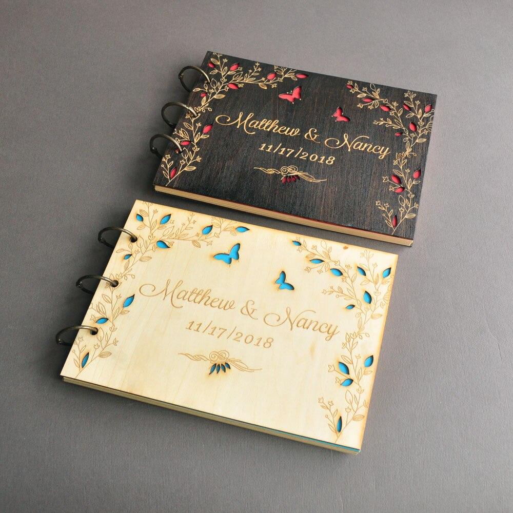 Personalizado A4 libro de invitados de boda amor mariposas Libro de Visitas personalizado boda memoria libro grabado nupcial ducha libro