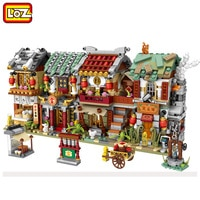 LOZ mini new street view China Street Bakery shop pawn shop bar blacksmith shop building blocks for children gifts