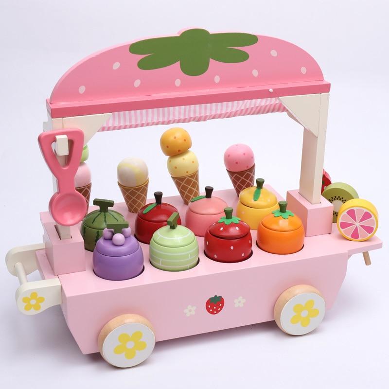 Nowy 1 zestaw drewniane zabawki udawaj zagraj w zabawkę symulacja magnetyczne lody kolorowe do kuchni do jedzenia zabawka dla niemowlaka jedzenie urodziny prezent D2