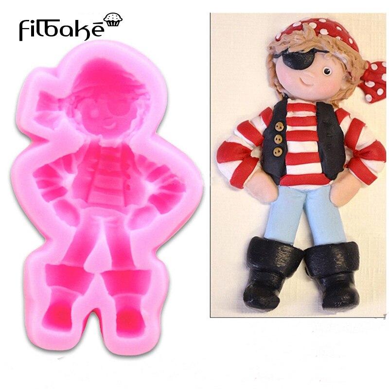Molde de silicona FILBAKE Navidad pirata muñeca Linda Cupcake Stand Reposteria Fondant...