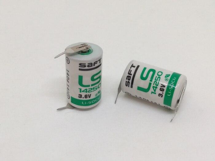 2 pçs/lote original novo saft ls14250 14250 3.6 v 1250 mah lisocl2 plc baterias de bateria com dois pinos ls 14250