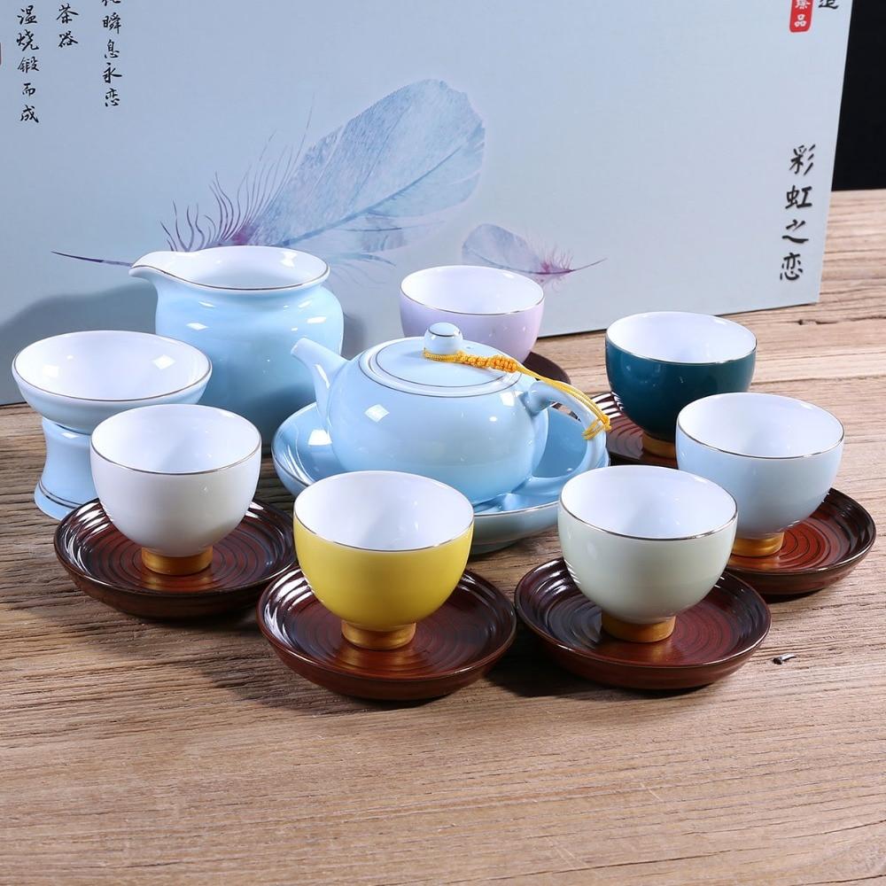 الإبداعية الكونغ فو طقم شاي عالية الجودة الرئيسية الصينية طقم شاي الزفاف للأخضر ، الاسود ، بو erh هدية بيع المصنع مباشرة