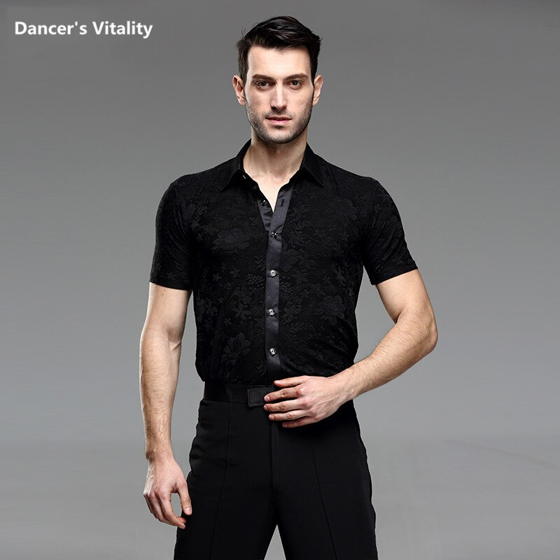 Dança latina valsa topo masculino dança latina camisas adulto moderno cha-cha dança de manga curta moderna roupa de dança S-XXL
