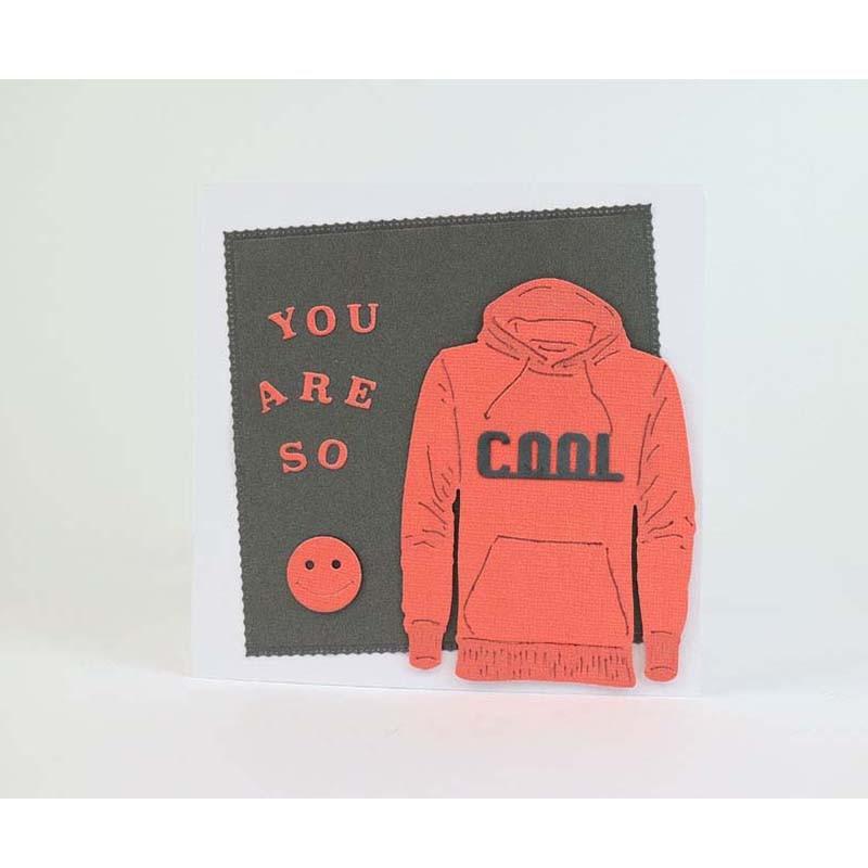 Sweat-shirt visage Cool sourire   Matrices de découpe en métal pour Scrapbooking, gaufrage, fournitures artisanales décoratives, cartes en papier travaux, neuf 2018 matrices